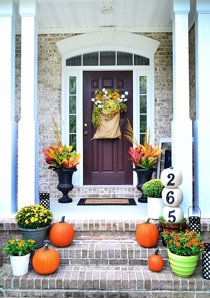 Fall Front Porch Decor Pumpkins Autumn Flowers