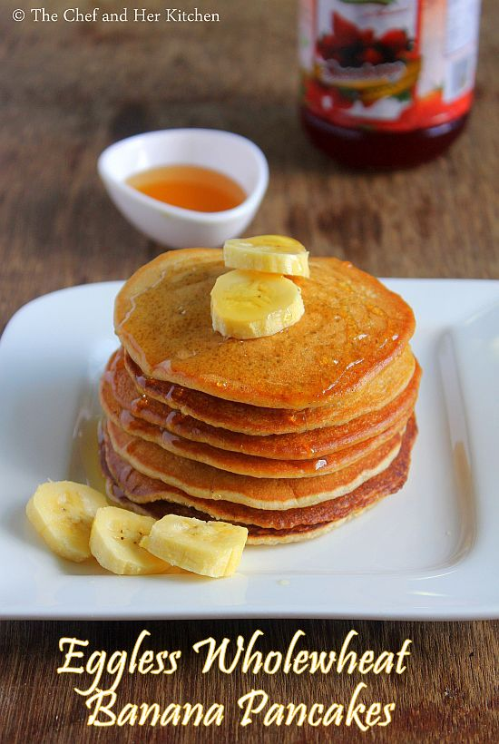 eggless wholewheat banana pancakes