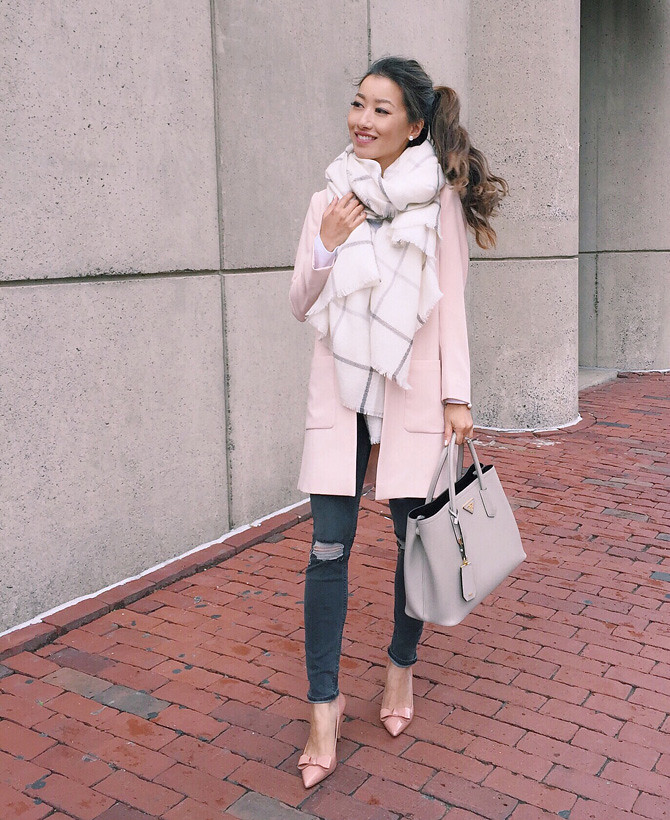 ann taylor bow pumps pink fall jacket