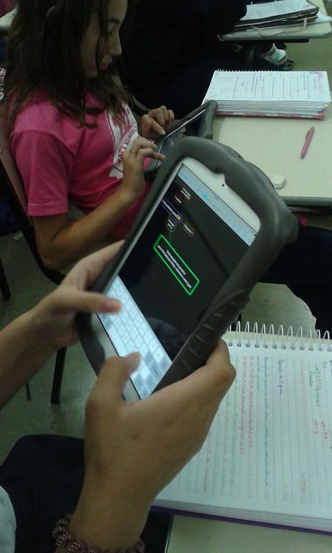 Aula de matemática com iPad - unidade da serra