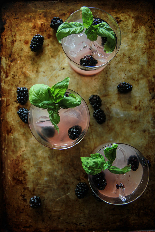 Blackberry Honey Basil Whiskey Lemonade from HeatherChristo.com
