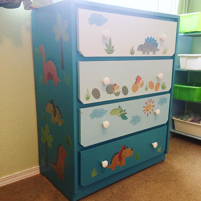 "Bought the ""Babysaurus"" decals to go on the walls, but they look cuter on the dresser!"