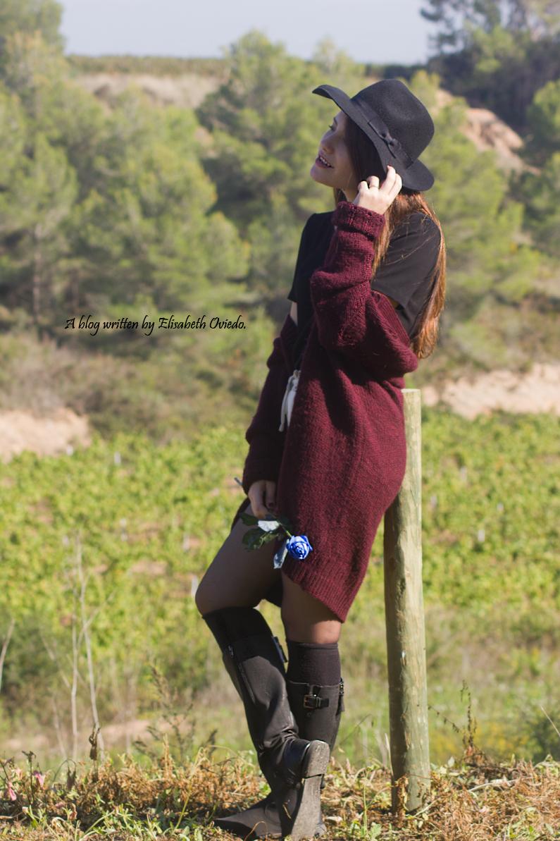 cardigan burgundy sombrero negro HEELSANDROSES look lady viñedos cata Mango Inditex (5)