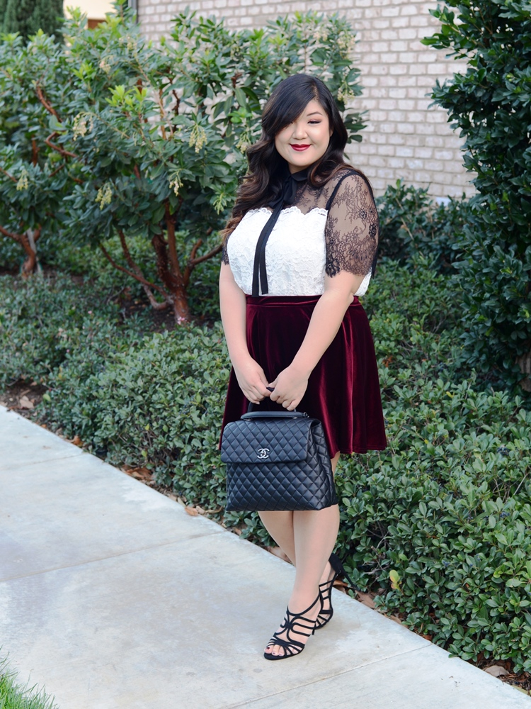 Curvy Girl Chic ELOQUII lace top velvet skirt 4