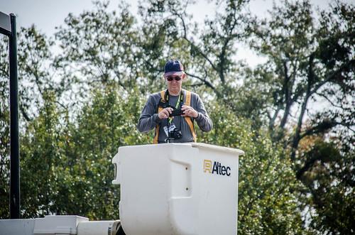 Bill Hightower in bucket truck