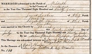 James C Eliz W Marriage 1835