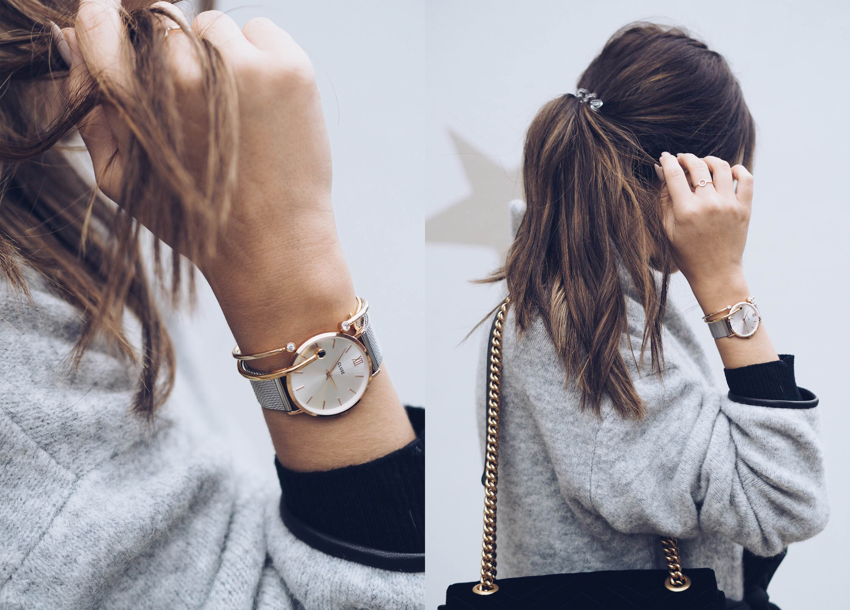 grey marble watch en la cluse white simple roche watches gold rose