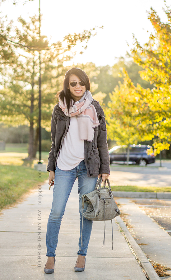 gray military jacket, pink striped blanket scarf, light pink sweater, gray tote bag, lightwash skinny jeans, gray suede pumps