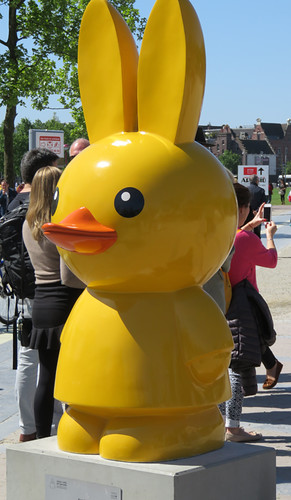Miffy the rabbit as a duck, one of a row of Miffy statues in the museum square in Amsterdam, Holland