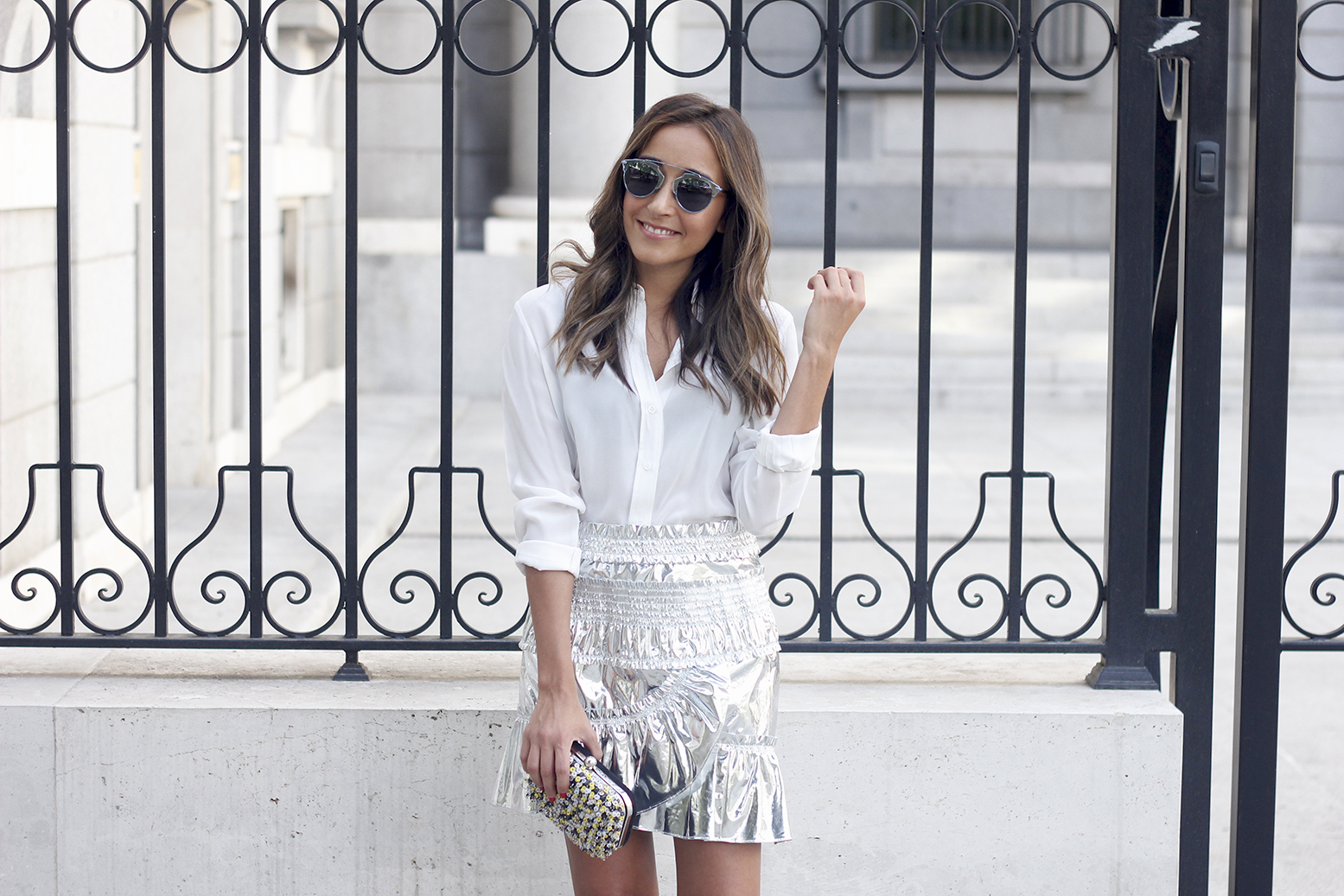 Isabel Marant Metallic Skirt white shirt nude sandals dior so real sunnies outfit style fashion16