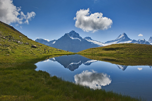 Hiking in Switzerland ; Grindelwald , First , above Bachsee . No. 8802.
