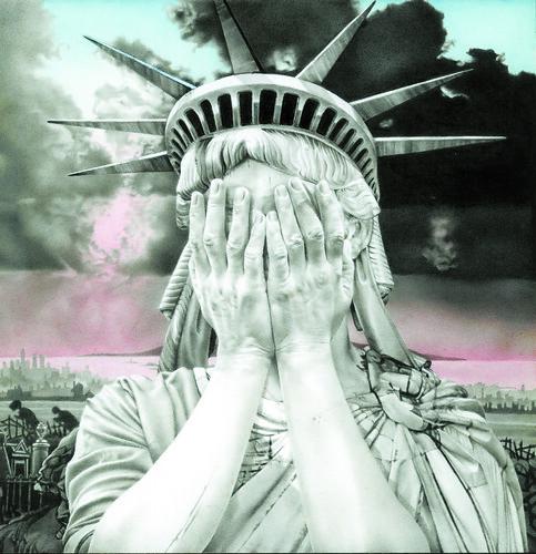 13. Oh America, 1989, gouache 230x230mm © Gee Vaucher, Courtesy Firstsite