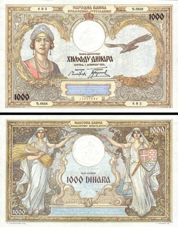 1000 Dinárov Juhoslávia 1929, P29