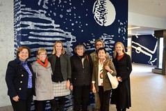 Nora Ananos, Kathy Babich, Jennifer Poacelli, Kathy Hutchins, Victoria Leyton, Angie Mariani, Moira Selinka in front of Galileo wall hanging at Andlinger Center for Energy and the Environment, PU, 10/26/2016-DSC_0035