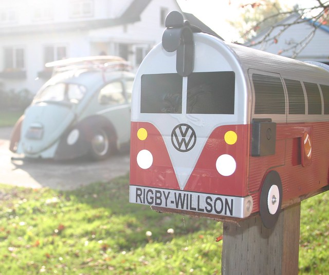 Red and Grey Mailbox by TheBusBox