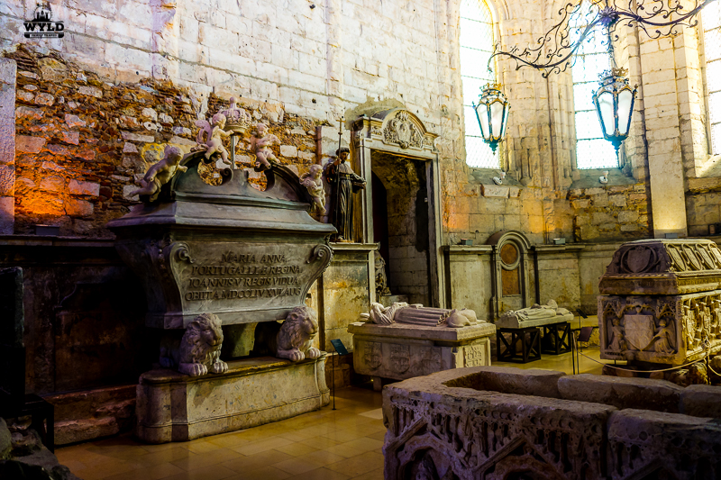 tombs on the inside of the carmo museum
