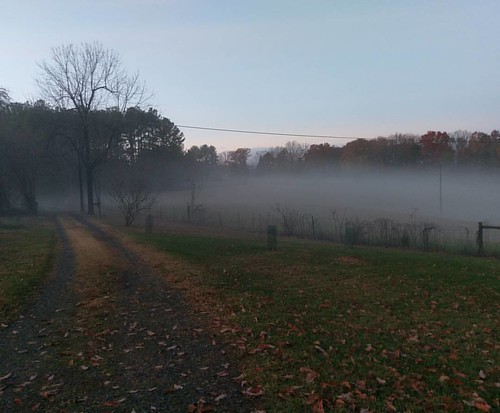 2 minutes ago, you could see the hay field.   #nofilter #autumnfog #fiveoaks #dantesspirit