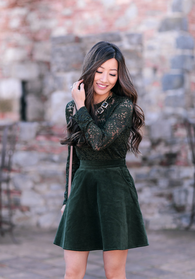green lace top flare skirt christmas party outfit