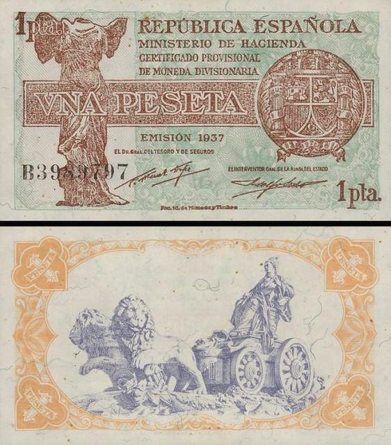 1 Peseta Španielsko 1937, P94