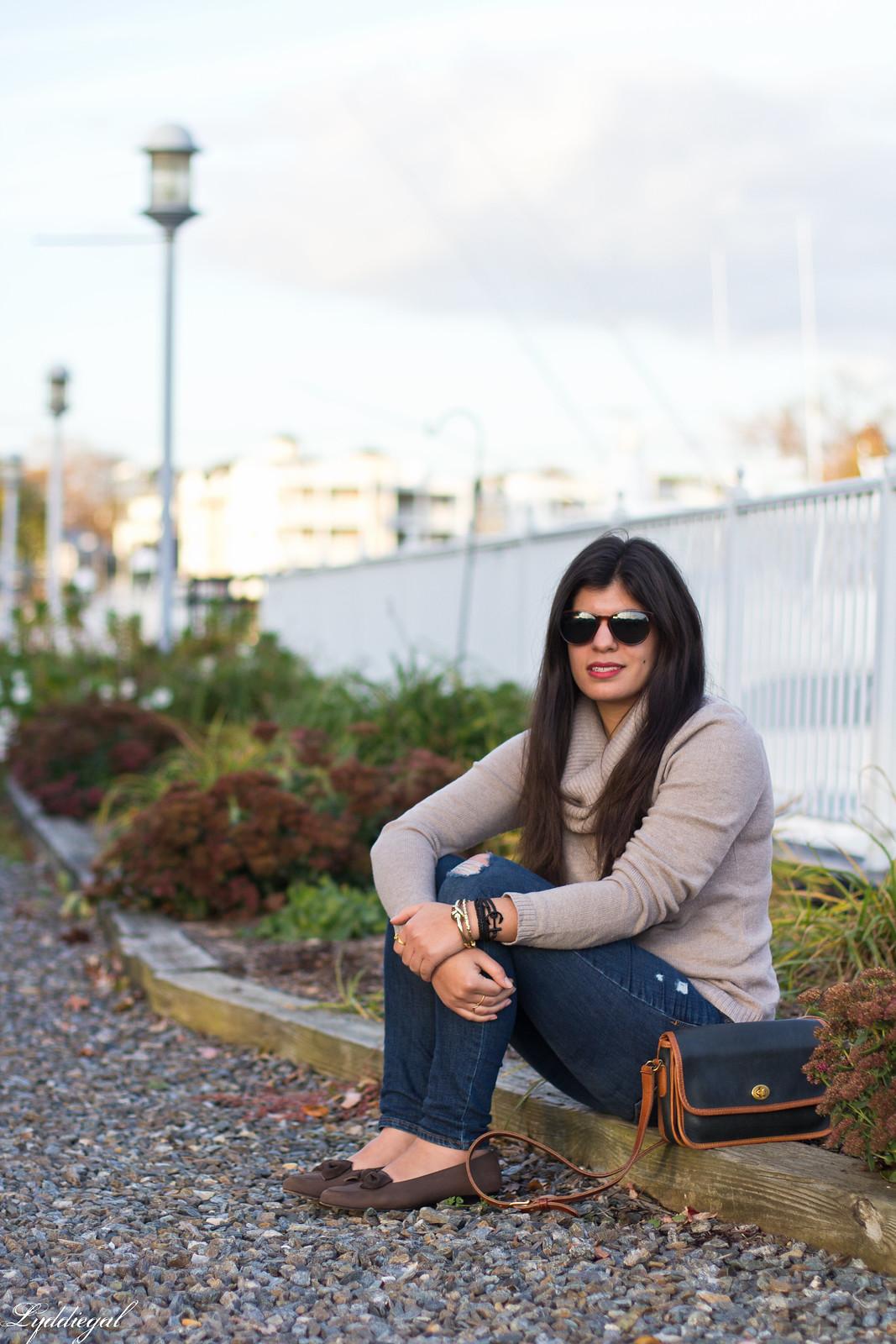 tan cowl neck sweater, brow bow ferragamo loafers, pura vida bracelet-3.jpg