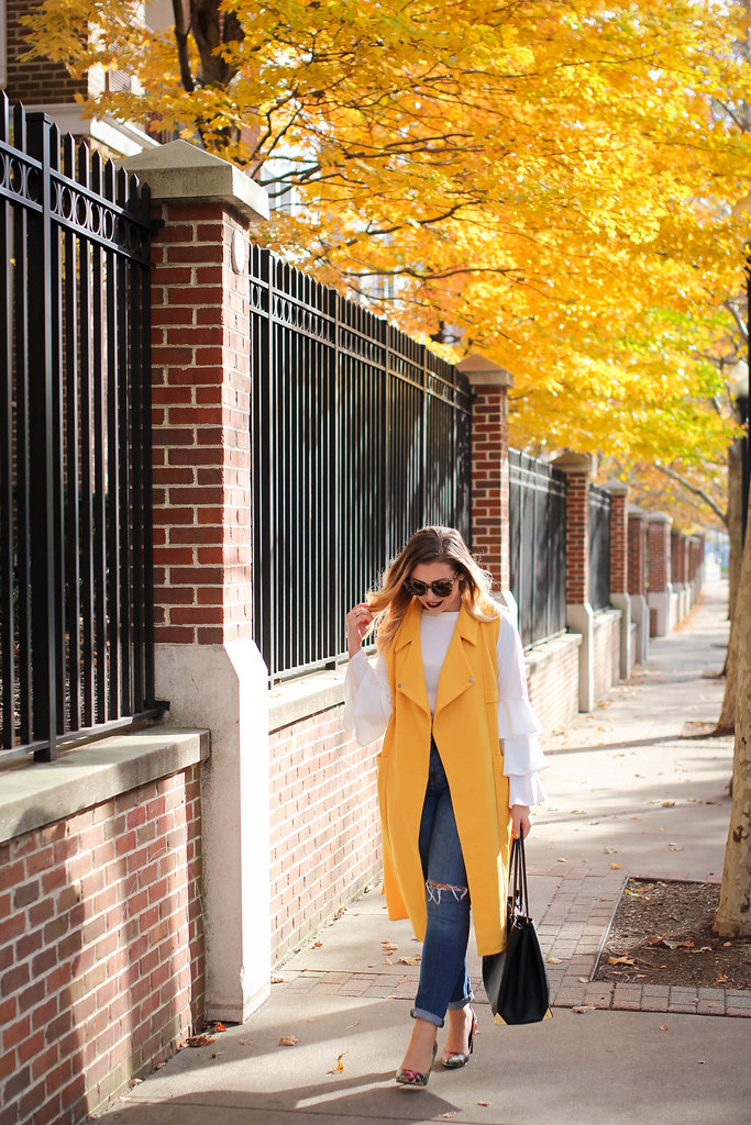 Shein Yellow Vest Shein White Ruffle Bell Sleeve Top H&M Girlfriend Jeans Casual Fall Outfit Stamford Connecticut Living After Midnite Style Fashion Jackie Giardina
