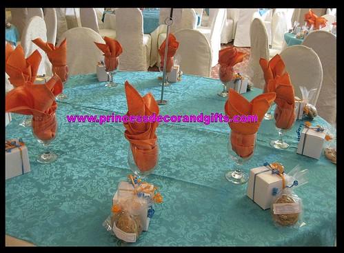 Wedding Decorations Blue And Orange : Aqua blue orange wedding decor real summer vibes flickr