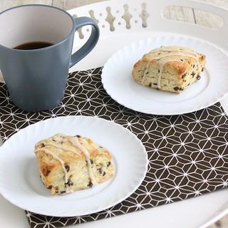Chocolate Chip Cream Scones with Maple Coffee Glaze | by Tracey's Culinary Adventures