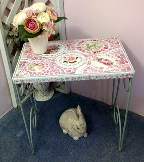 Chippy Green Metal Mosaic Table | by Grindstone Mountain Mosaics
