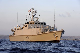Royal Navy Sandown Class Mine Countermeasures Vessel HMS Bangor Operating near Tobruk, Libya | by Defence Images
