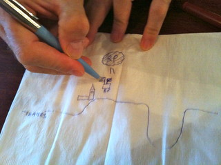 Paul draws a napkin map of London. | by Jeffrey