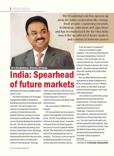 Interview with mr k muraleedharan chairman sfc group d for C k muraleedharan