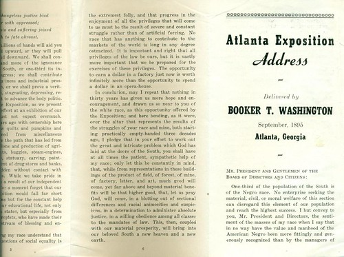 """an examination of the atlanta exposition address The passage below is extracted from booker t washington's most famous speech, known as """"the atlanta compromise address"""" washington presented the address to the cotton states and international exposition in 1895."""