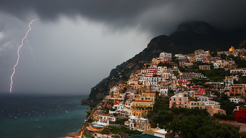 Lightning over Positano, Amalfi Coast, Italy | by Eric Hossinger
