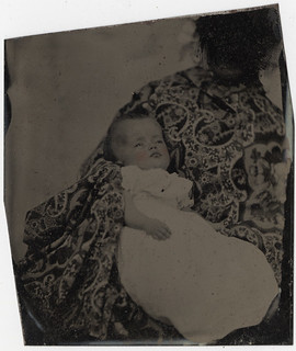 "Post Mortem Baby? - ""Hidden Mother"" - Cased Tintype Removed from the Mat 