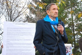 Ramsey Clark at press conference before Hancock 38 Drone Resisters Trial | by Syracuse Peace Council