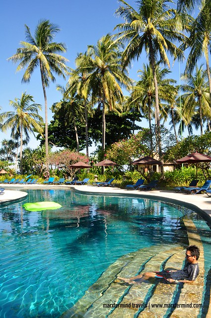 Enjoying the Swimming Pool of Holiday Resort Lombok