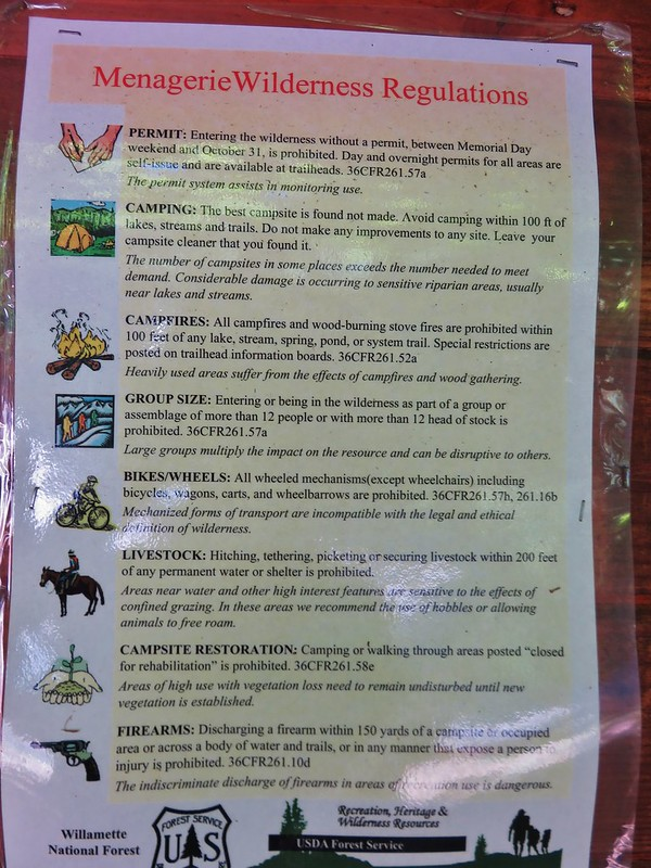 Menagerie Wilderness sign