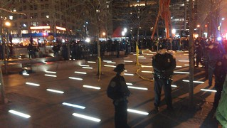 Zuccotti park half cleared-out and occupied by NYPD #ows | by agreatbigcity