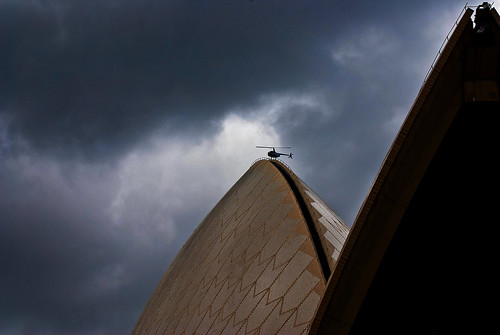 helicopter over Sydney opera house | by john@aus