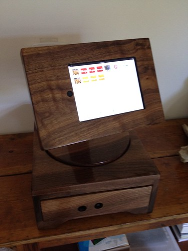 """Square"" iPad Cash Register - Walnut 