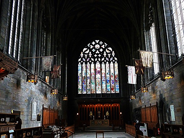 Interior (east) of Paisley Abbey, Scotland.