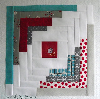 Sample Aqua and Red Bee - April Block | by Fiber of All Sorts
