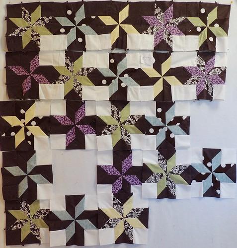 LeMoyne Stars quilt in progress