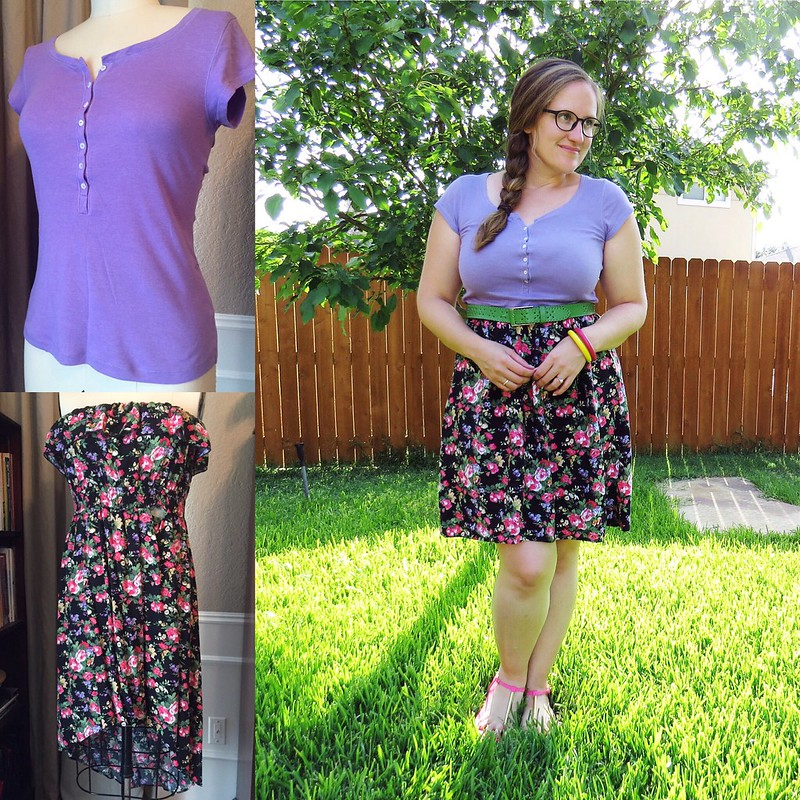 Floral T-Shirt Dress Refashion - Before & After