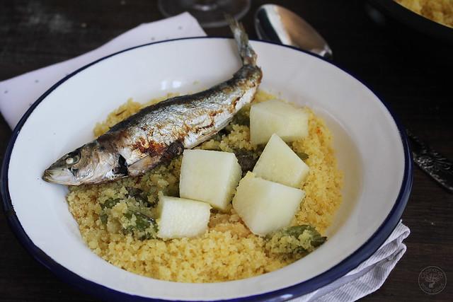 Migas de semola con melon y sardinas (2)