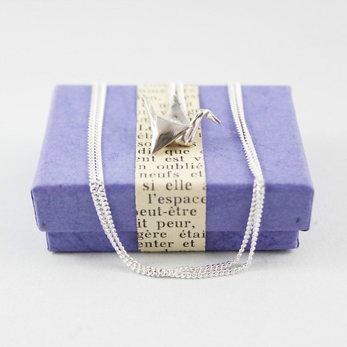 FoldIT Creations Silver Paper Crane Necklace