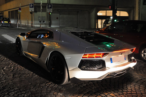 Peal white Aventador by Night in Paris | by ZellusCars