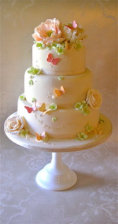 Pink,Peach and green wedding cake | by nice icing