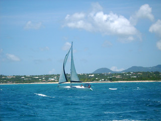 Sailing past Anguilla - St. Martin in the background. | by ASAflickr