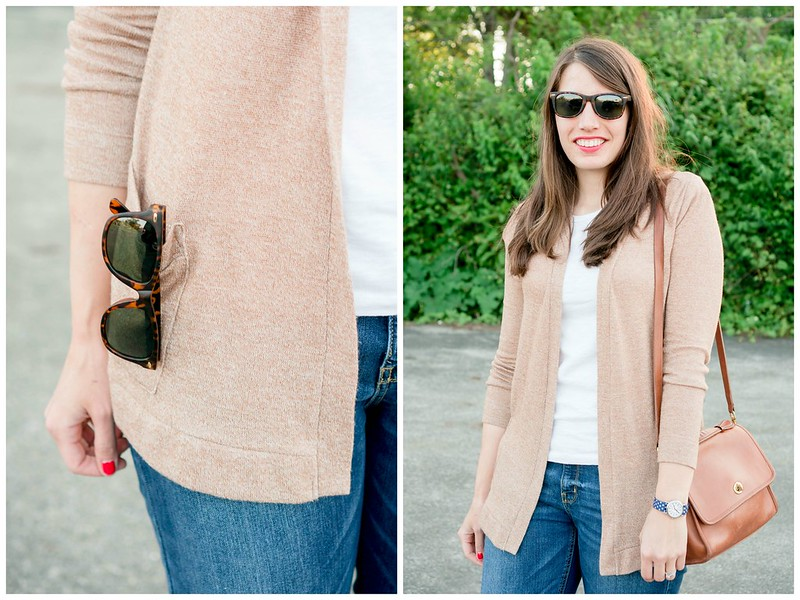 casual outfit, tan cardigan + boyfriend jeans + white tee + polka dot watch | Style On Target